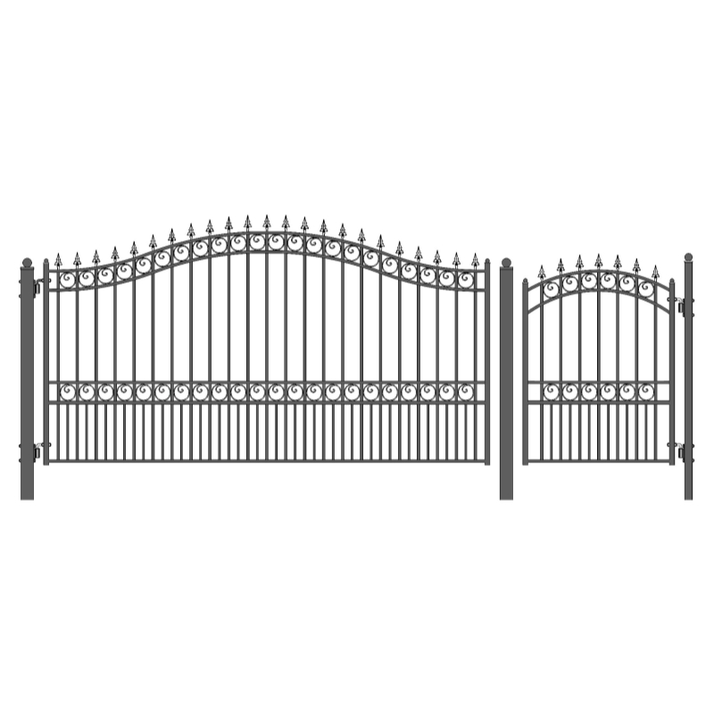 Set of ALEKO LONDON Style Steel Swing Single Driveway 14 ft with Pedestrian Gate 4 ft